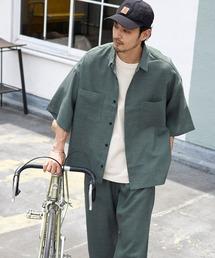 【セットアップ】テックリネン オーバーサイズ 半袖CPOシャツ&イージーシェフパンツ 2021SUMMERモスグリーン