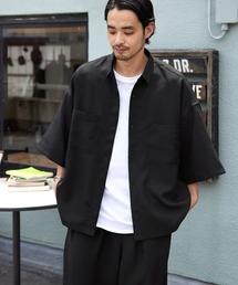 【セットアップ】テックリネン オーバーサイズ 半袖CPOシャツ&イージーシェフパンツ 2021SUMMERブラック