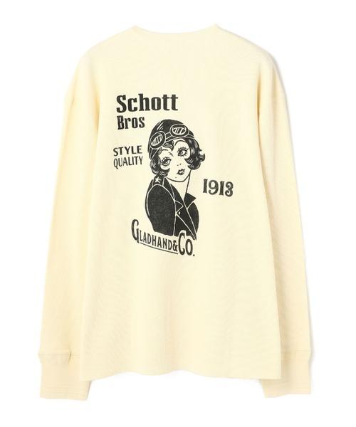 Schott×GLAD HAND(ショット×グラッドハンド) ONESTAR LADY HENRY WAFFLE LS T-SHIRT/ワンスターレディー ワッフルLS