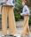 select MOCA(セレクトモカ)の「ジョーゼット素材で履き心地バツグン◆ウエストゴムリボンベルト付きドットハイウエストワイドパンツ(その他パンツ)」|ベージュ