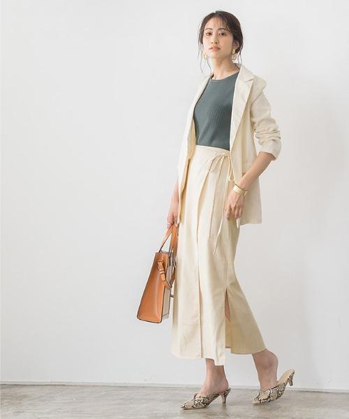 [Pierrot] リネンラップスカート