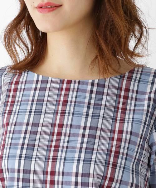 【WEB限定販売】【洗える】袖リボンチェック シャツ