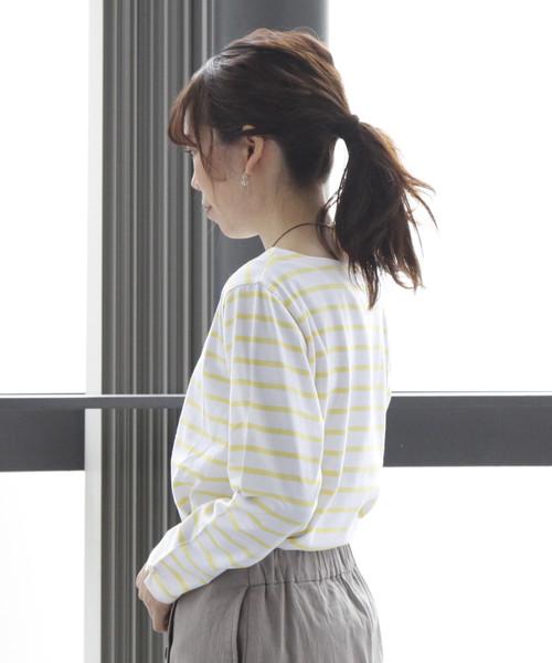 袖口マリン釦ポイントボートネックボーダー天竺カットソー