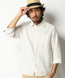 ikka(イッカ)のノルマンディーリネンパナマ7分袖シャツ(シャツ/ブラウス)