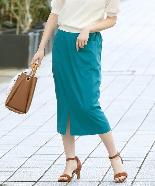 le.coeur blanc(ルクールブラン)の「ポケットツキリネンライクイージータイトスカート(スカート)」 ブルー系その他