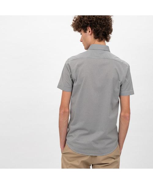 接触冷感ハウンドトゥースボタンダウンシャツ