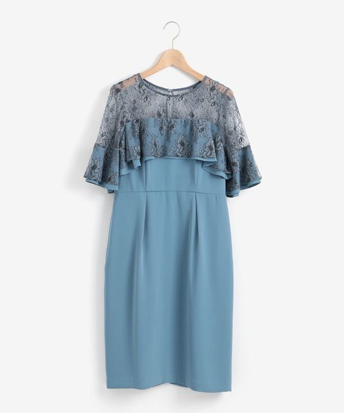 Perle Peche(ペルルペッシュ)の「Kaene レースフリルドレス(ドレス)」|サックスブルー