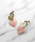 GOLDY(ゴールディ)の「マーブルハート on サンドブラストハート イヤリング(イヤリング(両耳用))」|ピンク