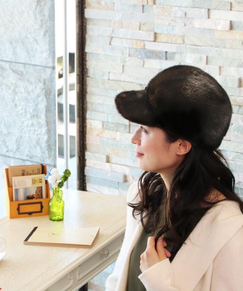 sankyo shokai(サンキョウショウカイ)の「ミンクファーキャスケット帽子(キャスケット)」|ダークブラウン