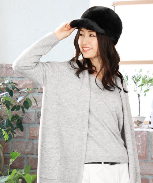 sankyo shokai(サンキョウショウカイ)の「ミンクファーキャスケット帽子(キャスケット)」|ブラック