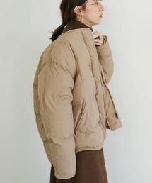 select MOCA(セレクトモカ)のノーカラーフェイクダウンジャケット(立体デザイン軽くて暖か中綿ショートダウン)(ダウンジャケット/コート)