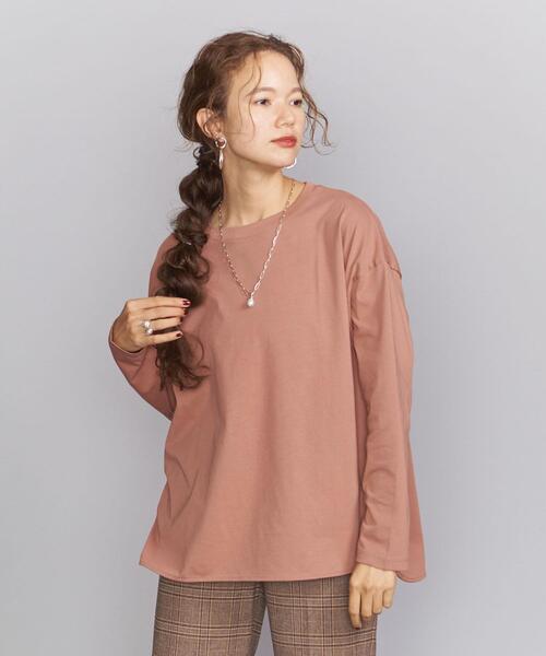 BEAUTY&YOUTH UNITED ARROWS(ビューティアンドユースユナイテッドアローズ)の「BY シャツテールロングスリーブカットソー(Tシャツ/カットソー)」 ピンク