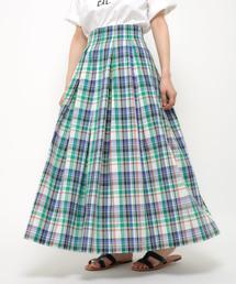 CIAOPANIC(チャオパニック)のマドラスチェック柄マキシ丈スカート(スカート)
