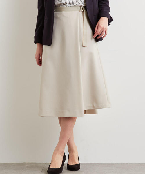 D グログラン ベルト フレア スカート