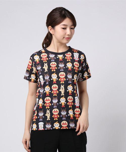 ANPANMAN KIDS COLLECTION(アンパンマンキッズコレクション)の「【アンパンマン】アート総柄Tシャツおとな(Tシャツ/カットソー)」|ブラック