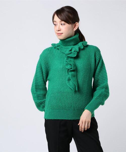 【絶品】 Memento 3 Rib Knit Ruffle Turtle Neck Top, 豊上モンテリア c264d9f7