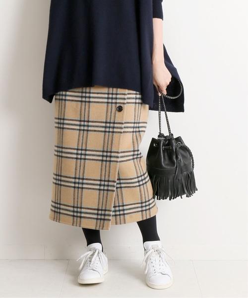 IENA(イエナ)の「Wフェイスリバーシブルミッドカーフスカート◆(スカート)」|ベージュ