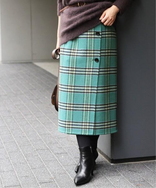 IENA(イエナ)の「Wフェイスリバーシブルミッドカーフスカート◆(スカート)」 グリーン