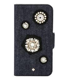 kate spade new york(ケイトスペード ニューヨーク)のアイフォン ケース デニム エンブリッシュ フォリオ - X & XS 【iPhone X & XS】(モバイルケース/カバー)