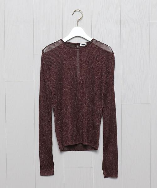 <H>LAME PLEATED PULLOVER/ニット