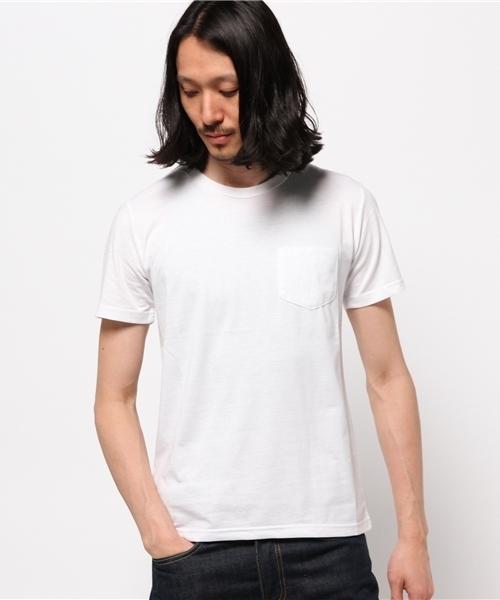汗染み防止加工/クルーネックポケット付き無地Tシャツ