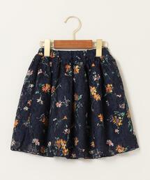 フラワーレースプリントスカート