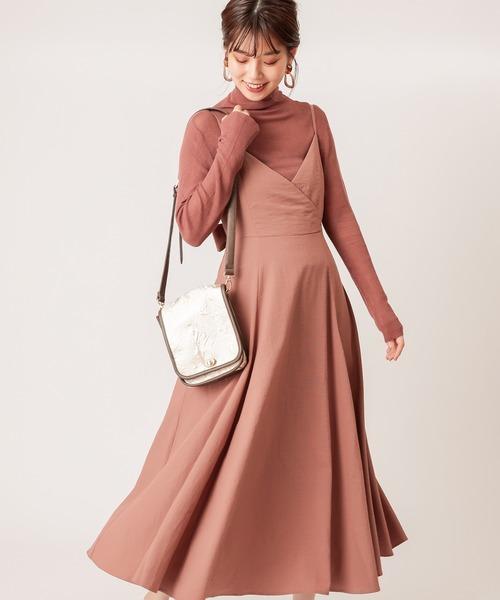natural couture(ナチュラルクチュール)の「【WEB限定カラー有り】バックリボンキャミワンピース(ワンピース)」|モカ