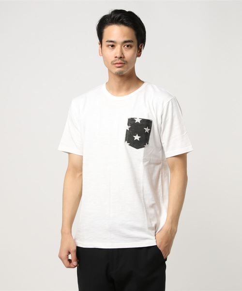 【POWER TO THE PEOPLE】スターアロハポケットUネックTシャツ/ポケットTシャツ