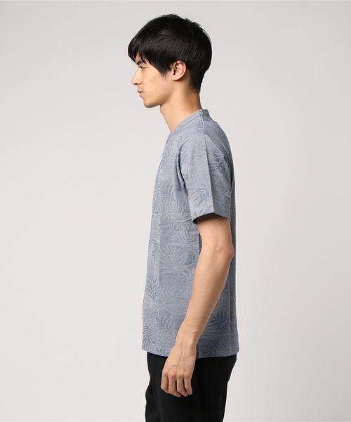 アレキサンダージュリアン/Alexander Julian リンクスヤシの木柄ジャガードクルーネック半袖Tシャツ