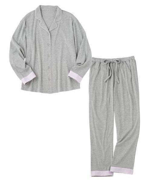 PEACH JOHN(ピーチジョン)の「【アルガンオイル加工でしっとり柔らか】ソフトコットンジャージーシャツパジャマ(ルームウェア/パジャマ)」 ヘザーグレー