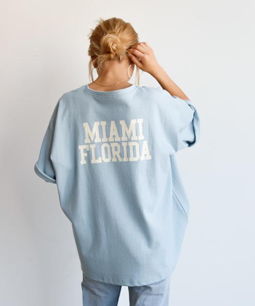 Auntie Rosa Holiday(アンティローザホリデー)の「【Holiday】マイアミバックプリントTEE(Tシャツ/カットソー)」|ブルー