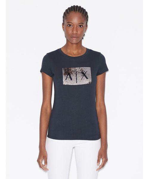 【A|Xアルマーニ エクスチェンジ】スパンコールBOXロゴ  クルーネック半袖Tシャツ/SLIM