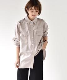 パイピングシャツライトグレー