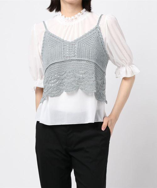 【セットアイテム】シアーブラウス+カギ編みビスチェSET