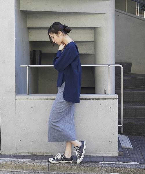 【STYLEBAR】バックロングトップス×リブニットスカート セットアップ