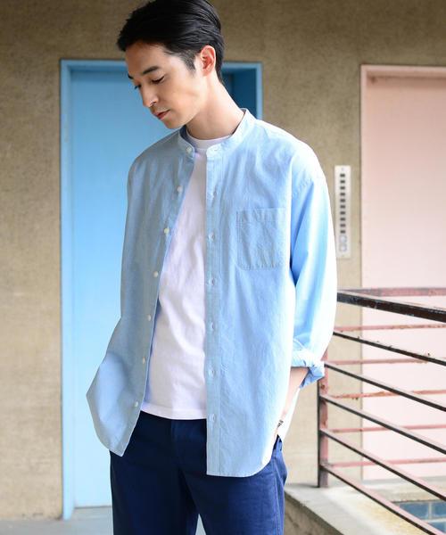 インディアコットンヘアラインストライプドロップショルダーバンドカラーシャツ