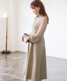 mysty woman(ミスティウーマン)のレースロングスリーブビスチェドレス 835685(ドレス)