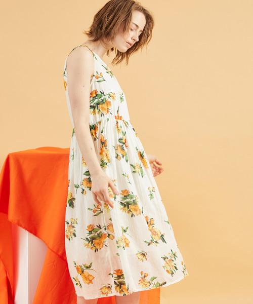 花柄 インド綿 コットンボイルワンピース