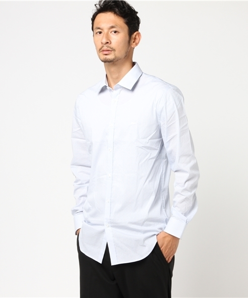 ストライプ&ポルカドットスリムフィットシャツ (長袖)