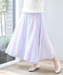 【Market】マルチストライプマキシスカート