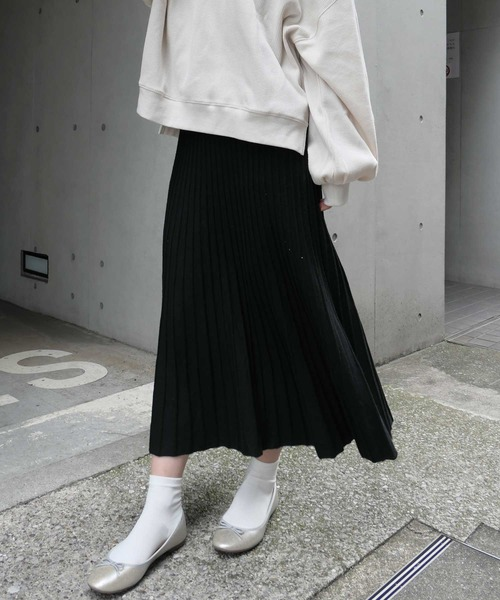 CORNERS(コーナーズ)の「ニットミディーフレアースカート 19AW★(スカート)」|ブラック