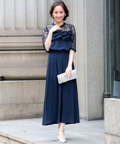 f9030f799b53d Fashion Letter(ファッションレター)の「レース フリル ロングワンピースドレス(ドレス
