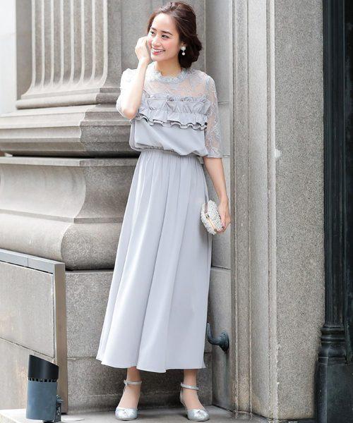 ac506b7eb7937 Fashion Letter(ファッションレター)のレース フリル ロングワンピースドレス(ドレス)