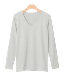 Pierrot(ピエロ)の前身頃2枚仕立てで透けにくい ネックデザインが選べる テレコリブカットソー(Tシャツ/カットソー)