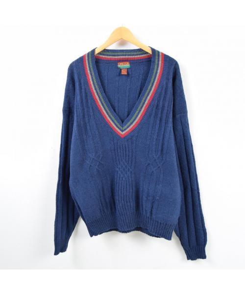 VINTAGE(ヴィンテージ)の古着「チルデンニットセーター(ニット/セーター)」|ネイビー