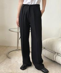 【chuclla】Center crease straight slacks chw1362ブラック