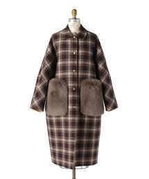 Drawer タータンチェックケヌキファーポケットコート