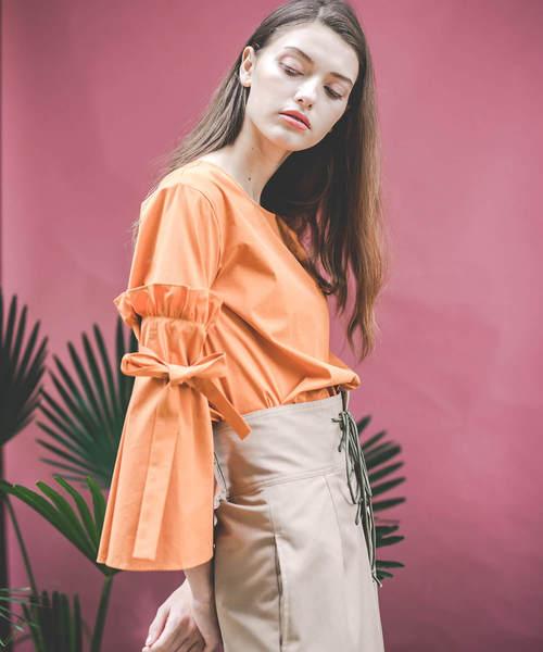 nina mew(ニーナミュウ)の「リボンスリーブブラウス(シャツ/ブラウス)」|オレンジ