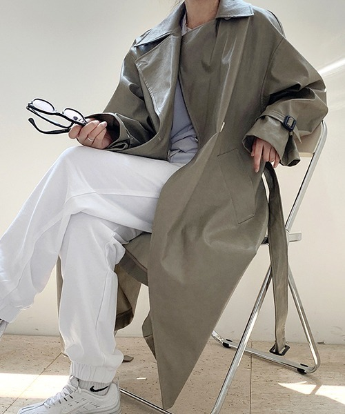 【chuclla】【2020/AW】Eco leather trench-coat chw1363