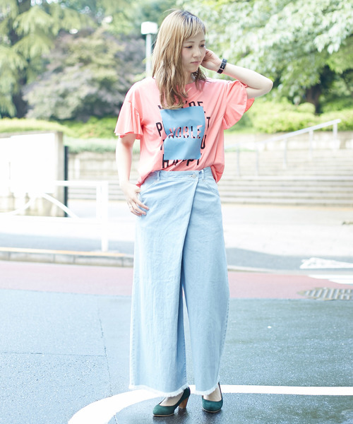 Soffitto/ロゴプリント袖フレアTシャツ